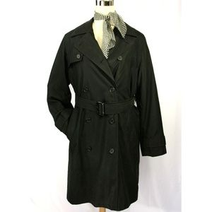 Bill Blass Black Double Breasted Belt Trench Coat